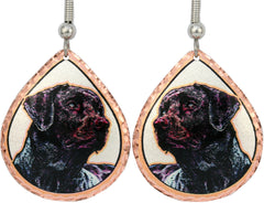 Black Labrador Retriever Dog Colourful Copper Earrings