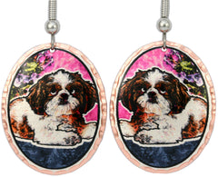 Shih-Tzu Dog Colourful Copper Earrings