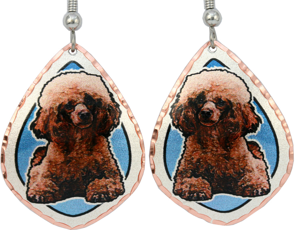 Poodle Dog Colourful Copper Earrings