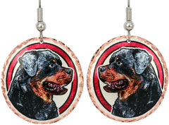 Rottweiller Dog Colourful Copper Earrings