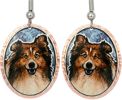 Shetland Sheep Dog Colourful Copper Earrings