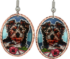 Yorkshire Terrier Dog Colourful Copper Earrings