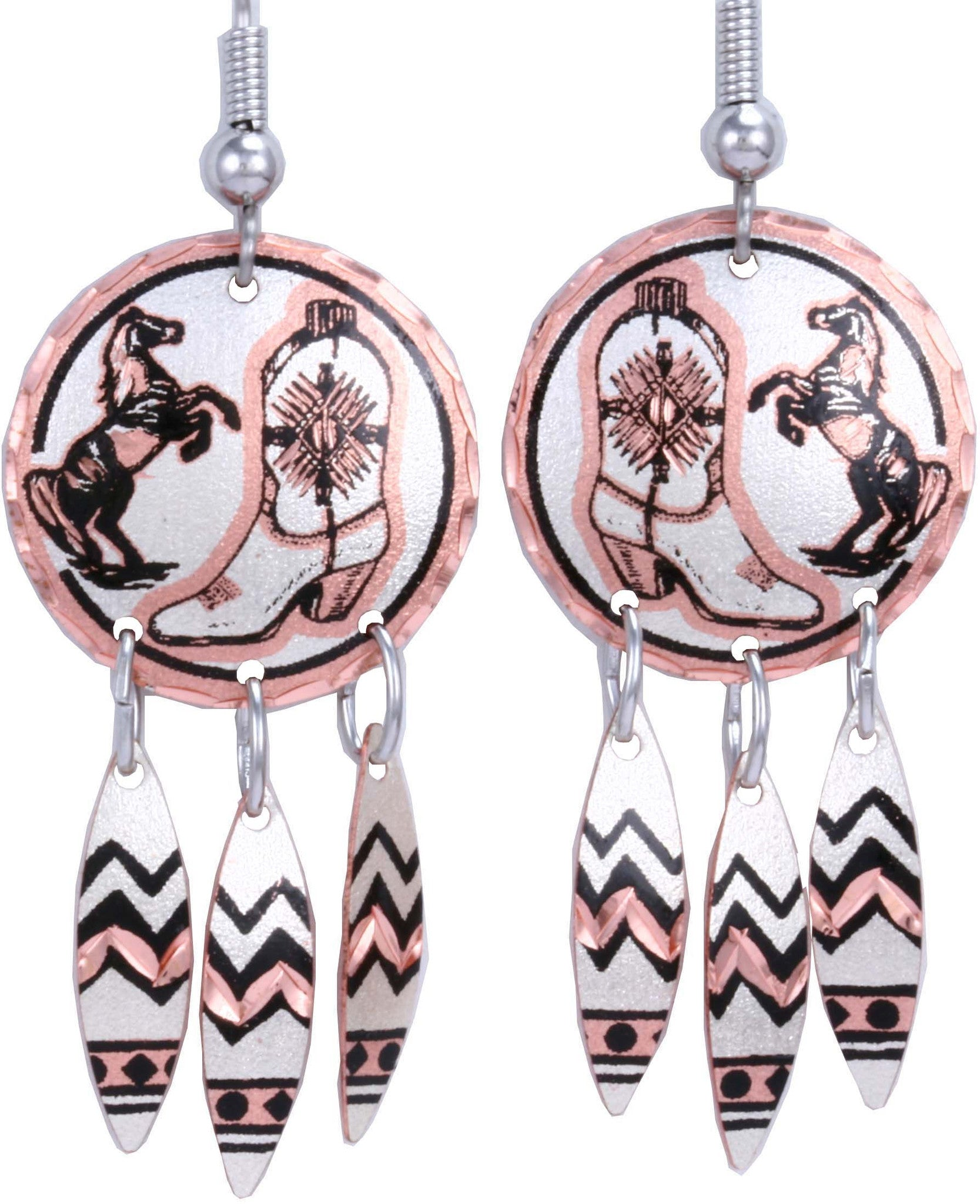 Horse & Cowboy Boots Dangle Earrings