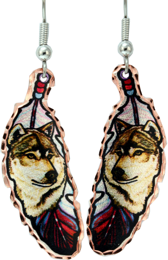 Wolf Colourful Feather Earrings