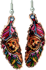 Bear Colourful Feather Earrings