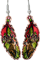 Elk Colourful Feather Earrings