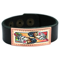 Native Feathers Colourful Lynn Bean Leather Bracelet