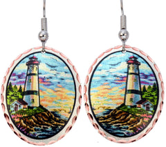 White Lighthouse Marine Earrings