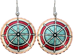 Ship's Wheel Marine Earrings