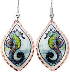 Green Seahorse Marine Earrings
