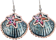 Starfish Seashell Marine Earrings