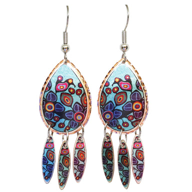 Norval Morrisseau Flowers and Birds Artist Collection Copper Earrings - Oscardo