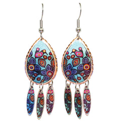 Norval Morrisseau Flowers and Birds Artist Collection Copper Earrings