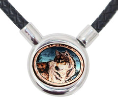 Wolf Braided Leather Necklace