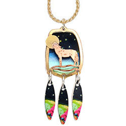 Wolf Colourful Cut-out Necklace