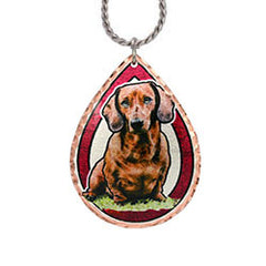 Dachshund Dog Colourful Copper Necklace