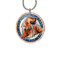 Golden Retriever Dog Colourful Copper Necklace
