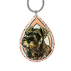 Miniature Schnauzer Dog Colourful Copper Necklace