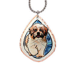 Shih-Tzu Dog Colourful Copper Necklace