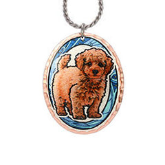 Poodle Dog Colourful Copper Necklace