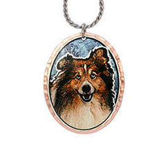 Shetland Sheep Dog Colourful Copper Necklace