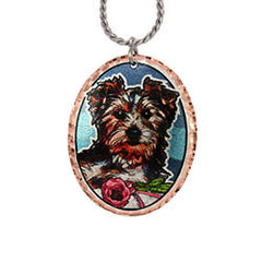Yorkshire Terrier Dog Colourful Copper Necklace