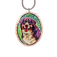 Bernese Mountain Dog Colourful Copper Necklace