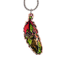 Elk Colourful Feather Necklace
