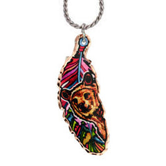 Bear Colourful Feather Necklace