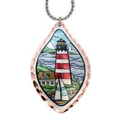 Lighthouse with Sailboat Marine Copper Necklace