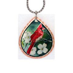 Cardinal bird Colourful Lynn Bean Necklace