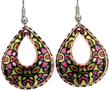 Norval Morrisseau Floral on Yellow Artist Collection Copper Earrings - Oscardo
