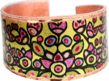Norval Morrisseau Floral on Yellow Artist Collection Copper Ring - Oscardo