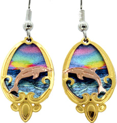 Dolphin Cut-Out Colourful Sparkle Earrings
