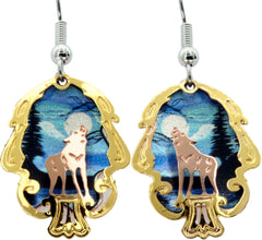 Wolf Cut-Out Colourful Sparkle Earrings