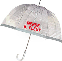 Merde Il Pleut Clear Bubble Umbrella