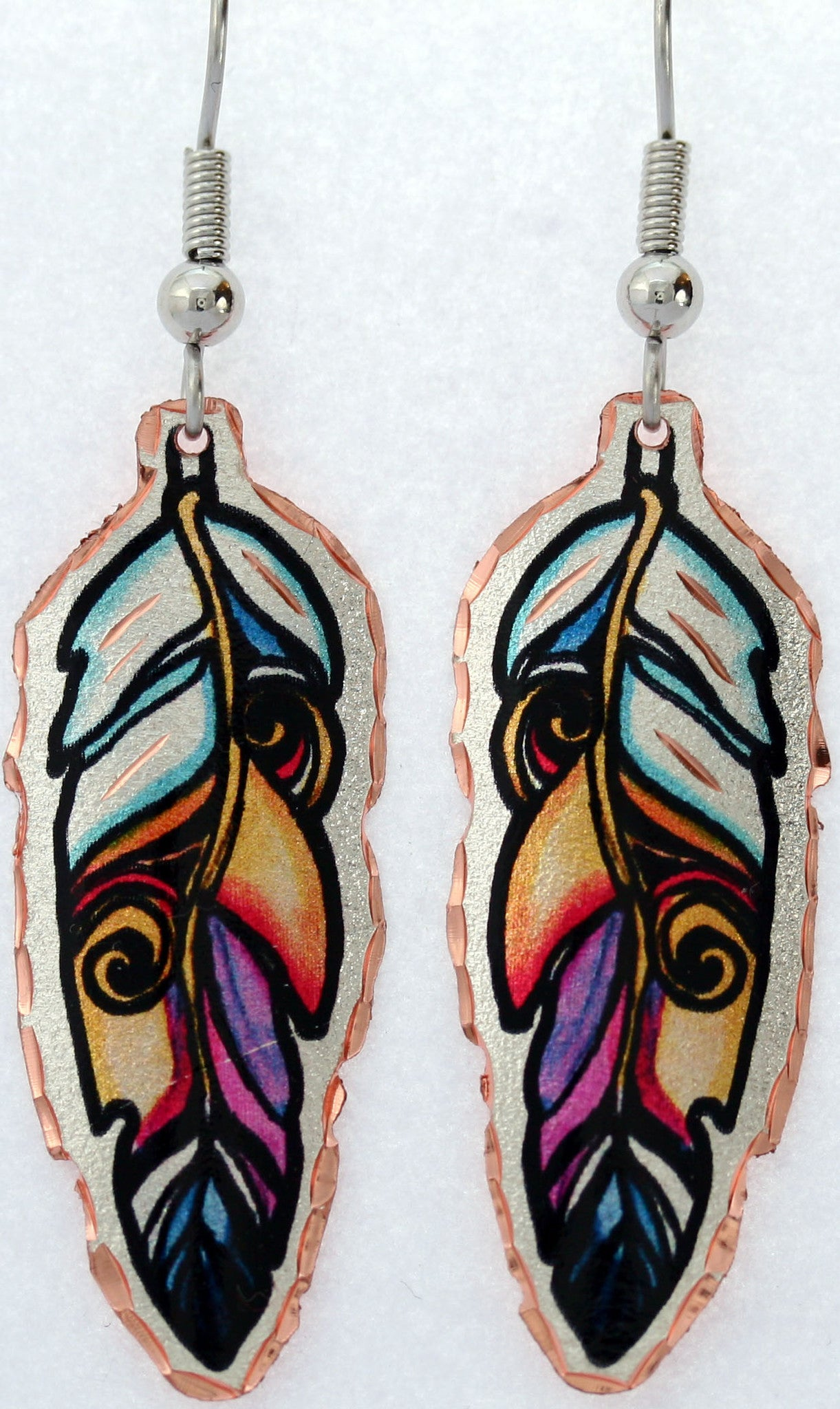 Native Feather Colourful Lynn Bean Earrings