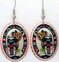 Bear and Totem Colourful Lynn Bean Earrings