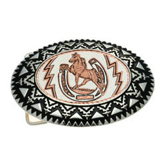 Horse and Horseshoe Belt Buckle