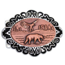 Bear and Eagle Embossed Belt Buckle