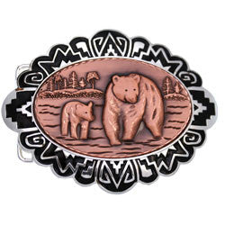 Bear and Cub Embossed Belt Buckle