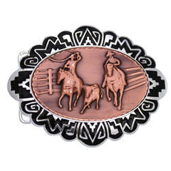 Cowboy and Horses Embossed Belt Buckle
