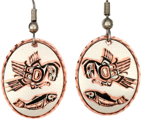 Native Eagle and Salmon Copper Earrings