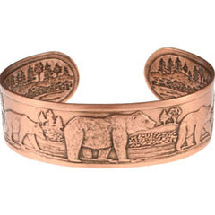 Bear and cub Embossed Copper Bracelet