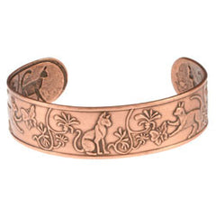 Cat Embossed Copper Bracelet