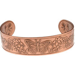 Butterfly Embossed Copper Bracelet