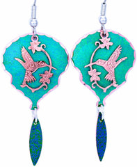 Native Hummingbird Blue Patina Earrings