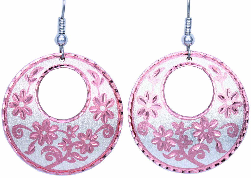 Floral Design Round Cut-out Earrings