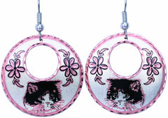 Cat Round Cut-out Earrings