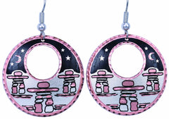 Native Inukshuk Round Cut-out Earrings